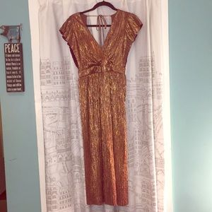 June & Hudson Metallic Burgundy/Rose Gold Dress